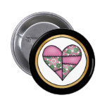 Padded Quilted Stitched Heart Pink-02 Pinback Button