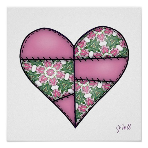 Padded Quilted Stitched Heart Pink-02 Poster