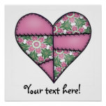 Padded Quilted Stitched Heart Pink-02 Posters