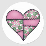Padded Quilted Stitched Heart Pink-02 Stickers