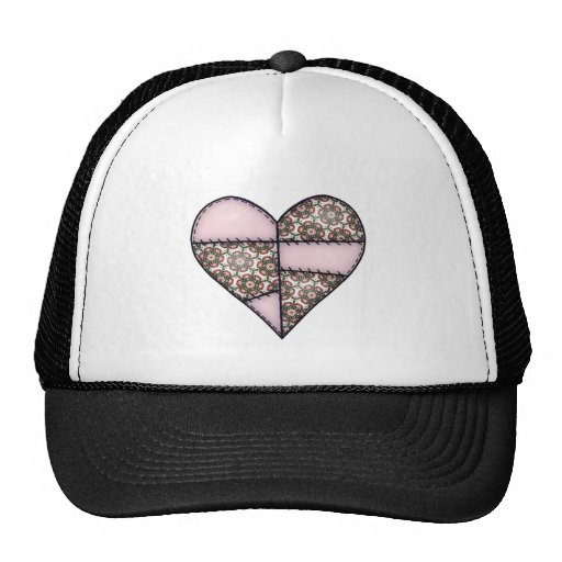 Padded Quilted Stitched Heart Pink-05 Trucker Hat