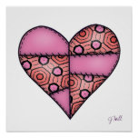 Padded Quilted Stitched Heart Pink-06 Posters