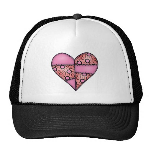 Padded Quilted Stitched Heart Pink-06 Trucker Hat