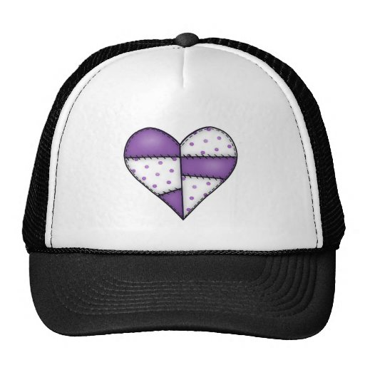 Padded Quilted Stitched Heart Purple-03 Trucker Hat