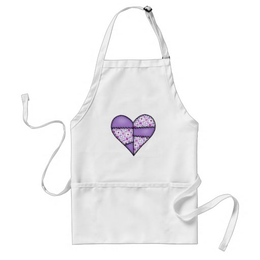 Padded Quilted Stitched Heart Purple-04 Adult Apron