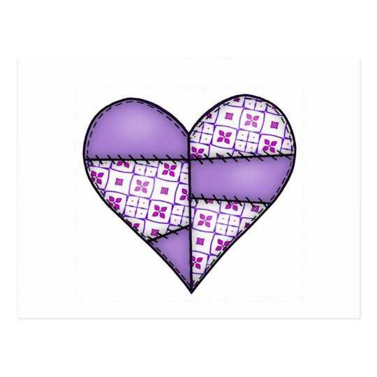 Padded Quilted Stitched Heart Purple-04 Postcard