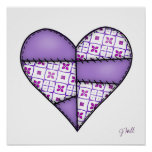 Padded Quilted Stitched Heart Purple-04 Print