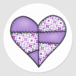 Padded Quilted Stitched Heart Purple-04 Round Sticker