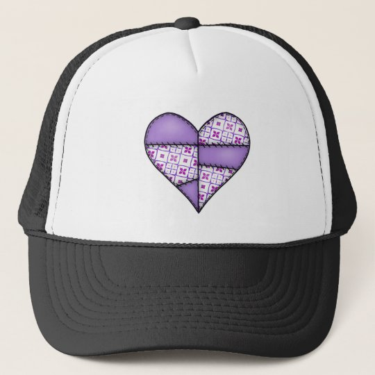 Padded Quilted Stitched Heart Purple-04 Trucker Hat