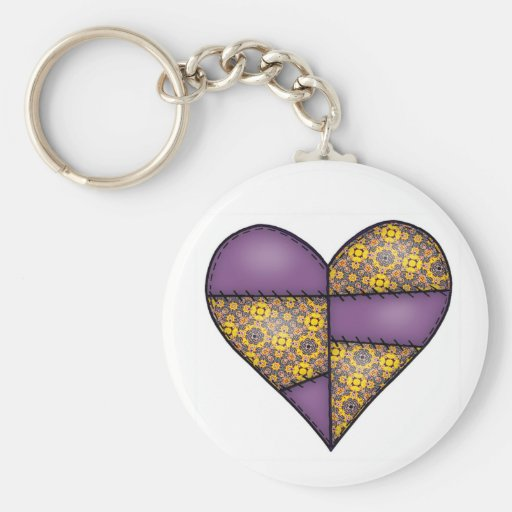 Padded Quilted Stitched Heart Purple-06 Keychains