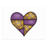 Padded Quilted Stitched Heart Purple-06 Post Cards