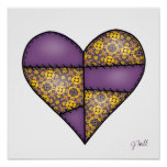 Padded Quilted Stitched Heart Purple-06 Poster