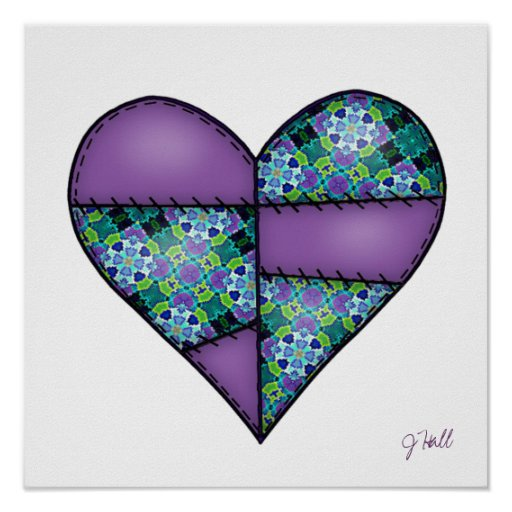 Padded Quilted Stitched Heart Purple-08 Print