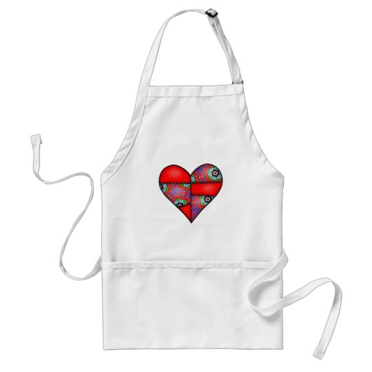 Padded Quilted Stitched Heart  Red - 01 Adult Apron