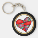 Padded Quilted Stitched Heart  Red - 01 Key Chains