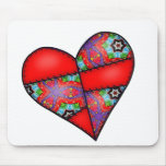 Padded Quilted Stitched Heart  Red - 01 Mouse Pad