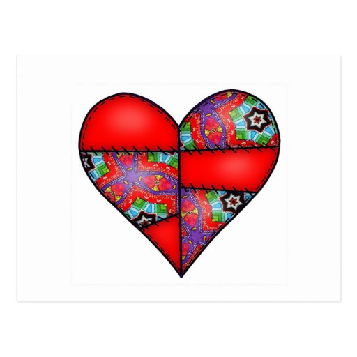 Padded Quilted Stitched Heart  Red - 01 Postcard