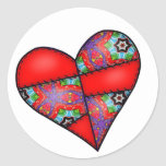 Padded Quilted Stitched Heart  Red - 01 Sticker