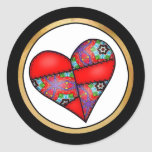 Padded Quilted Stitched Heart  Red - 01 Stickers
