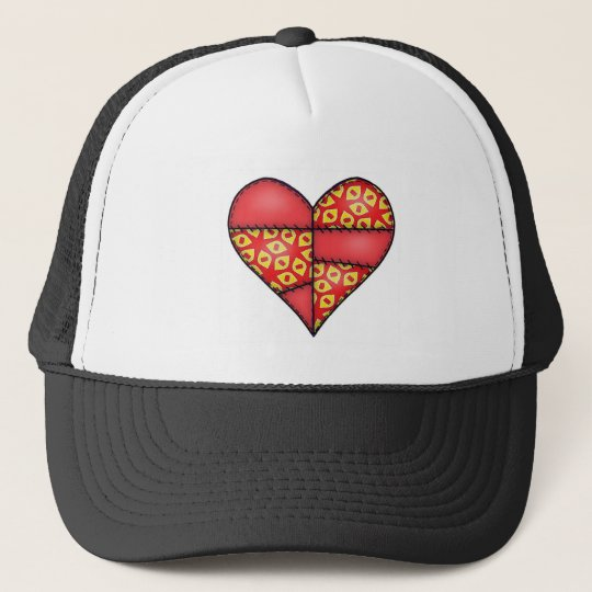 Padded Quilted Stitched Heart Red-02 Trucker Hat