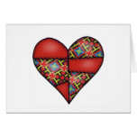Padded Quilted Stitched Heart Red-03 Card