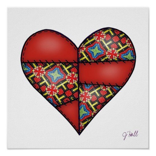 Padded Quilted Stitched Heart Red-03 Poster