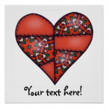 Padded Quilted Stitched Heart Red-06 Poster