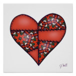 Padded Quilted Stitched Heart Red-06 Print