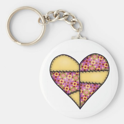 Padded Quilted Stitched Heart Yellow-08 Keychain
