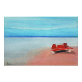 Paddle Boat on Pink Sands Posters