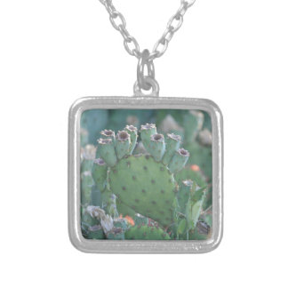 Paddle Cactus Silver Plated Necklace