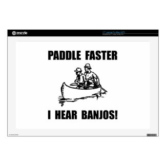 """Paddle Faster Hear Banjos 2 17"""" Laptop Skin"""