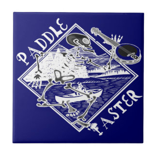 Paddle Faster Skeleton Canoe Ceramic Tile