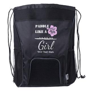 Paddle Like A Girl Drawstring Backpack