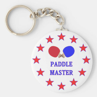Paddle Master Ping Pong Basic Round Button Keychain
