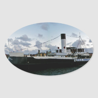 Paddle Steam Ship Oval Sticker