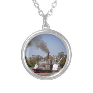 Paddle Steamer Cruising River Murray, Silver Plated Necklace