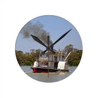 Paddle_Steamer, _Murray_River, _ Reloj Redondo Mediano