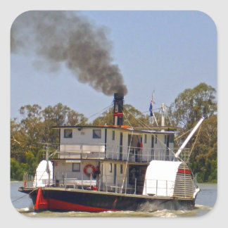 Paddle_Steamer,_Murray_River,_ Square Sticker