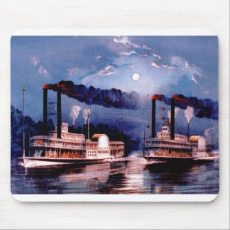 Paddle steamers in midnight race mouse pad