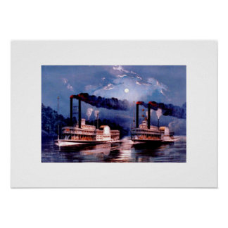 Paddle steamers in midnight race, USA Poster