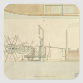 Paddle-wheel, perspective view of machinery drawn square sticker