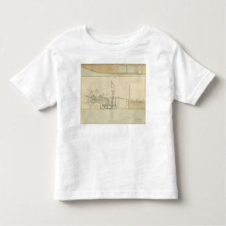 Paddle-wheel, perspective view of machinery drawn t-shirt