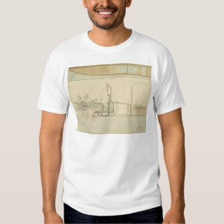 Paddle-wheel, perspective view of machinery drawn tee shirt