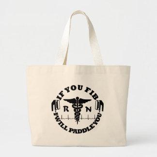 Paddle You Shock You Registered Nurse Afib Humor Large Tote Bag
