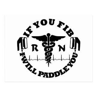 Paddle You Shock You Registered Nurse Postcard