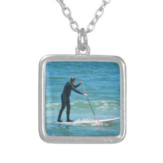Paddleboarding Silver Plated Necklace
