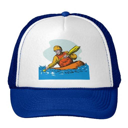 paddler del kajak que bate la canoa kayaking gorras