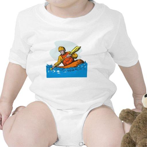 paddler del kajak que bate la canoa kayaking traje de bebé