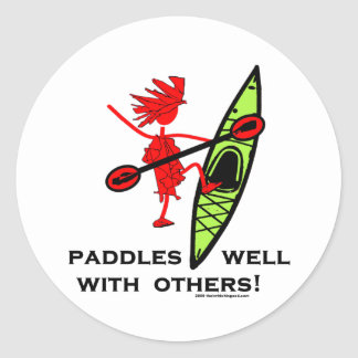 Paddles Well With Other Classic Round Sticker